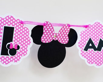 Hot Pink Minnie Mouse Banner,  Minnie Mouse I Am 1,  Minnie Mouse Highchair Banner, Minnie Mouse 1st Birthday Party