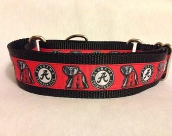 "Nylon w/University of Alabama Ribbon Leash, Martingale or Quick Release Collar Ribbon Collar 1"" Martingale 1.5"" Martingale"
