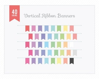Banner Clip Art - PNG Vertical Ribbon Banners for Web or Print