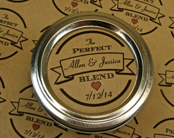 Personalized Wedding Favor Labels - 20 - 2 Inch Circles - Perfect Blend Logo Style Design On Kraft Labels