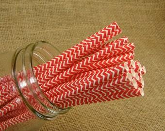 Straws -  25 Red and White Chevron Paper Straws