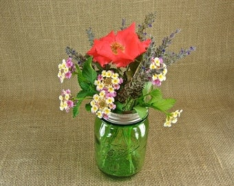 Six - Green Heritage Collection Mason Jars With Hand Made Frog Lids - Mason Jar Vases