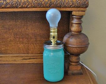 Mason Jar Lamp - Handmade - Milky Green Mason Jar