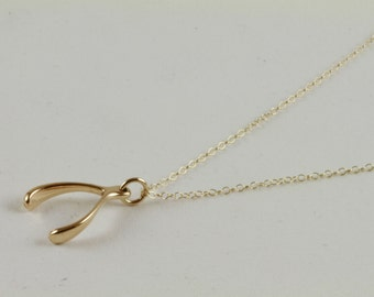 Delicate Gold Necklace, Delicate Lucky Wishbone, Tiny Wishbone Gold Necklace, Wishbone Layering Necklace, Good Luck Pendant