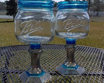 PAIR - Ball Mason Jar Margarita or Sangria Glass - 16oz Square Elite - Royal Blue and Silver - Bachelorette Orders Welcome - Weddings