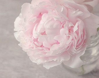Flower Photograph, Pink Peony, Fine Art Photography Print, pastel pink, gray, floral, peony print, feminine, cottage chic wall art