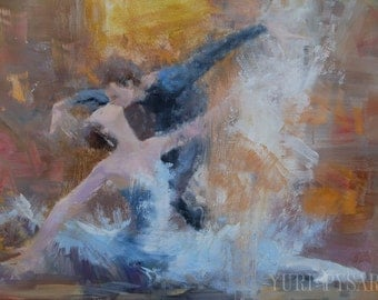 Romantic painting print,  Modern canvas print, Dancing couple in Love, Anniversary Gift