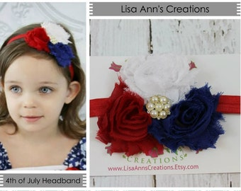 Baby Headband 4th of July Red White Blue Shabby Chic Flower Headband for Newborn - Infant - Toddler - Girl  - Photo Prop