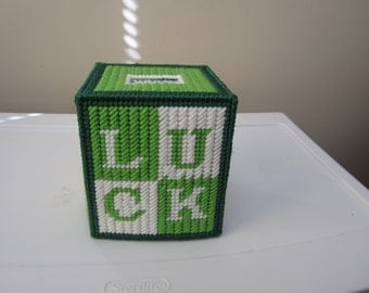 GREEN and WHITE LUCK Boutique Tissue Box Cover in Plastic Needlepoint