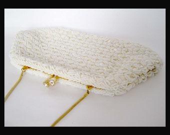 Vintage Sequin White Bridal Satin Beaded Pearl Handbag / Purse / Clutch
