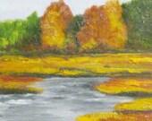 Maine Painting Autumn Marsh 1 Sheepscot Marsh Oil on Cradled Birch Panel Landscape Original Plein Air Art by Kathleen Daughan.Wedding Gift