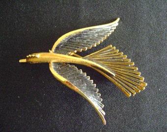 Vintage Marked 93 Enamel Bird in Flight Brooch