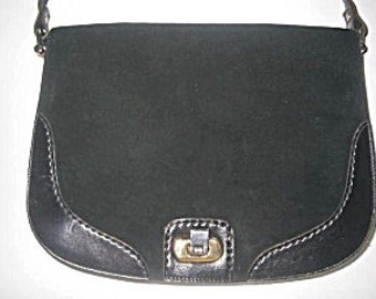 Black Shoulder Bag Leather & Suede by Ponte Vecchio Made In Italy