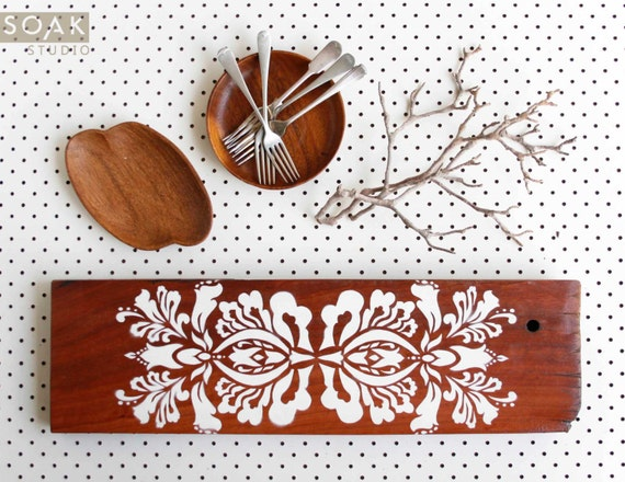Wood And White Painted Serving Board Rustic Wood French
