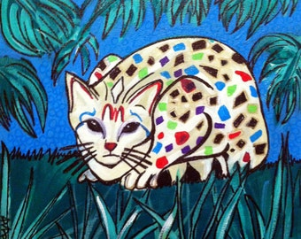 Mexican Folk Art - CAT - PRINT Signed By Artist A.V.Apostle
