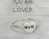 Solid Sterling Silver Couple Heart Initial Ring