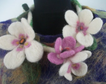 necklace, made by the method of needle felting.