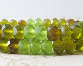 Czech Glass Beads, Peridot & Olive Green Matte Mix, 8x6mm Fire Polish Faceted Rondelle, 10 Pieces