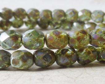 Czech Beads, Aqua Green Picasso 6mm Czech Fire Polish Glass Round Beads, 30 Pieces
