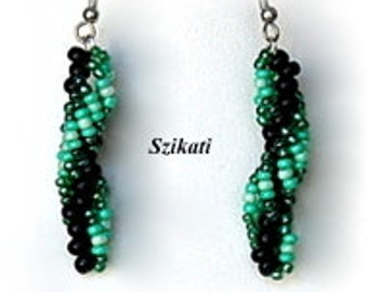 FREE SHIPPING! Green/Black Statement Dangle Earrings, Beadwoven Fashion Jewelry, Women's Beaded Accessory, Spiral Rope, Gift for Her, OOAK