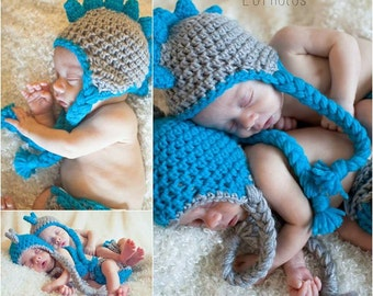 Crochet Newborn Dinosaur Hat and Diaper Cover Set- Twin Set or Single Set- Aqua and Silver Grey