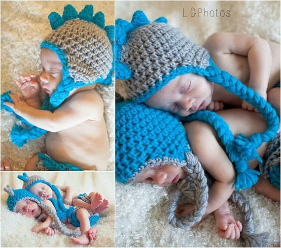 Crochet Newborn Dinosaur Hat and Diaper Cover Set Twin Set or