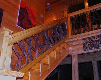 Rustic Interior Stair Railing Rails Porch Decor Log Cabin Furniture by Jason Wade