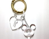 Mickey Key and Lock Bag Charm with Rock Ring, Handmade Jewelry by Dreambuzzer on Etsy
