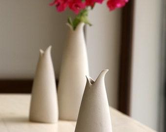 Small Ceramic Vase - Decorative and Functional  White Silky Glaze