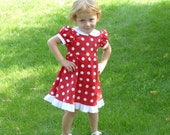 Red and white polka dot twirly dress with white collar