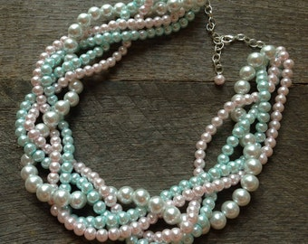 Pink Blue Pearl Necklace Statement Bridal Necklace White Braided Cluster on Silver or Gold Chain