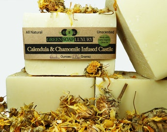 Castile Infused with Calendula & Chamomile - (6.0 to 6.5 oz) - Unscented, Gentle, All Natural, VEGAN, Cold Process SOAP