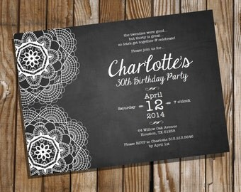Lace Chalkboard Birthday Invitation - 16th 21st 30th 40th 50th 60th 70th birthday invitation - Instant Download and Edit with Adobe Reader