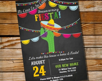 Mexican Fiesta Housewarming Invitation - Housewarming Party Invite - Instant Download and Edit with Adobe Reader - Print at Home!