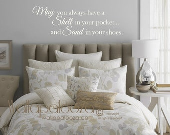 Beach wall decor - May you always have a shell in your pocket wall decal - beach wall decal - ocean wall decal - Wallapalooza Wall Decals
