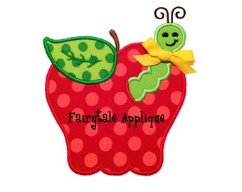 Digital Machine Embroidery Design -  Apple with Worm Applique