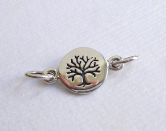 Tiny Sterling Silver Etched Tree Connector -- 1 Piece...  Family Tree Link
