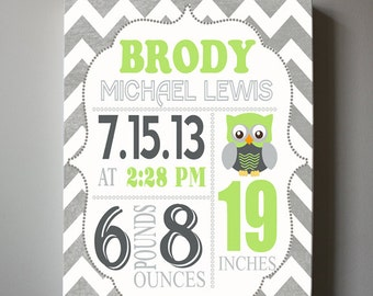 "Baby Gift - Baby Birth Announcement Canvas Print 10"" x12"" ,Boys Nursery Canvas Art , Personalized Wall Hanging, Boys Room Decor, Owl"