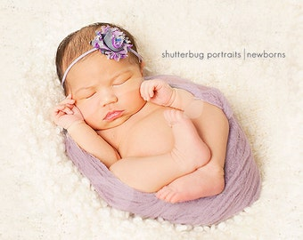 Wistera Photography Newborn Headband cheesecloth set.  Hand Dyed Cheesecloth.  Photo props.