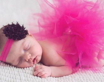 Pink Polka Dot Headband and newborn Fuchisa  tutu set