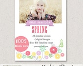 5x7in Spring Photography Marketing board, PSD Newsletter Photoshop template, sku7-23, Instant download