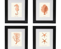 Nautical Posters, Nautical Art Print Set in Coral Orange, Beach House Decor Wall Art, Seahorse, Corals And Starfish Posters, Summer Art