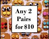2 Button Earrings for 10 - Fabric Button Earrings - Hypoallergenic Earrings - Stud Earrings