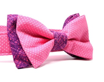 Pink and Purple Dog Collar with Bow