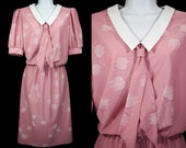 10 Dollar Sale---Vintage 80's CARRIAGE COURT Pink & White Floral Dress w/ Bow Size 10
