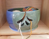 Yarn Bowl, Apple green and denim blue with multiple slots