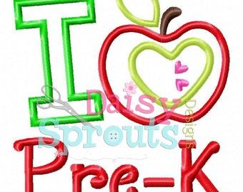 I Love Pre-K Applique Design INSTANT Download