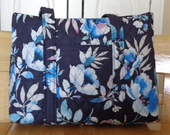Navy White Light Blue Pink Flower Print Quilted Purse