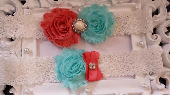 Coral/Aqua Wedding Garter -  Garter Set - Ivory Stretch Lace -Chiffon Flowers Wedding Garter Set