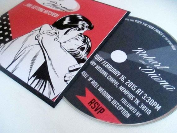 Record Wedding Invitations: Items Similar To 1950's Red & Black Vinyl Record Sleeve